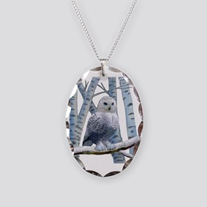 BLUE-EYED SNOW OWL Necklace Oval Charm