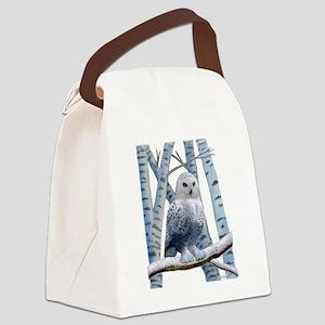 BLUE-EYED SNOW OWL Canvas Lunch Bag
