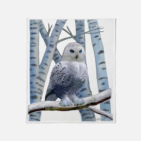 BLUE-EYED SNOW OWL Throw Blanket