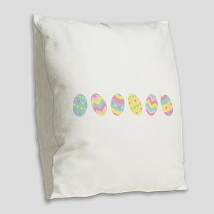 Easter Egg Border Burlap Throw Pillow