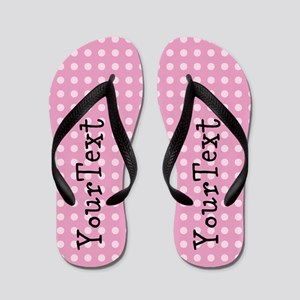 Customize Pink Polka Dot Personalized Flip Flops