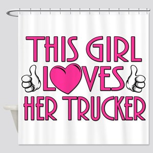 This Girl Loves Her Trucker Shower Curtain