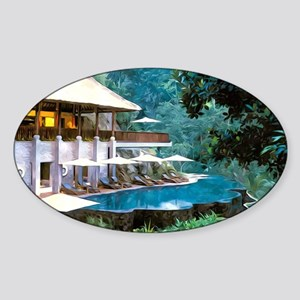 Spa Pool by the river Sticker (Oval)
