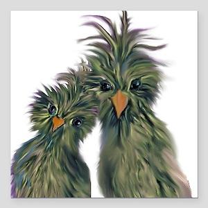"DODO DOODLE LOVE BIRDS Square Car Magnet 3"" x 3"""