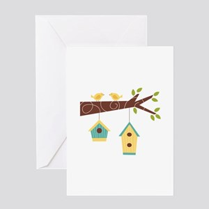 Bird House Tree Branch Greeting Cards