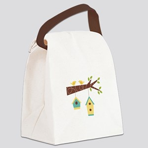 Bird House Tree Branch Canvas Lunch Bag