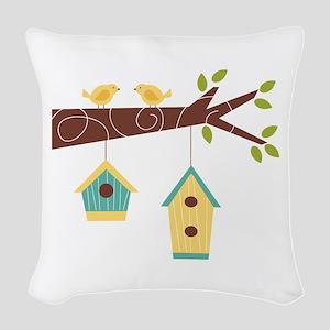 Bird House Tree Branch Woven Throw Pillow