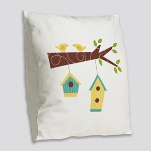 Bird House Tree Branch Burlap Throw Pillow