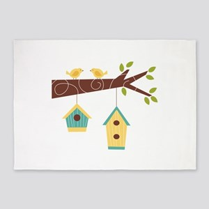 Bird House Tree Branch 5'x7'Area Rug