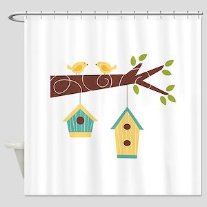 Bird House Tree Branch Shower Curtain