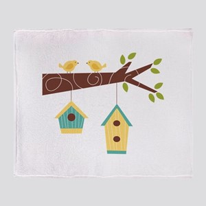 Bird House Tree Branch Throw Blanket
