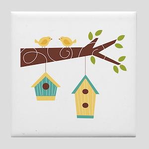Bird House Tree Branch Tile Coaster