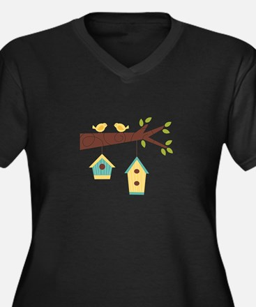 Bird House Tree Branch Plus Size T-Shirt