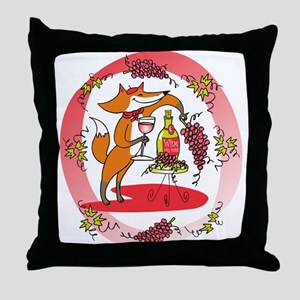 Fox and Grapes Vin Rose Throw Pillow