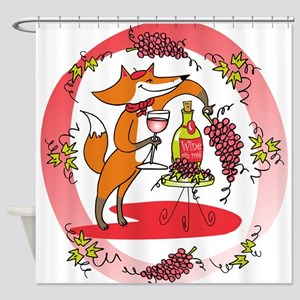 Fox and Grapes Vin Rose Shower Curtain