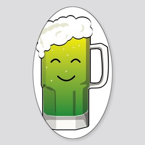 Happy green beer mug Sticker (Oval)