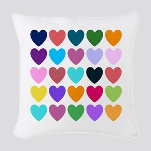 Hearts of All Kinds Woven Throw Pillow