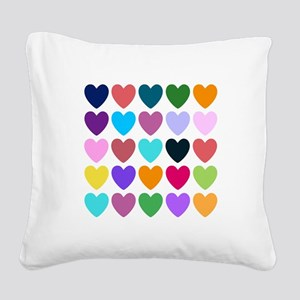Hearts of All Kinds Square Canvas Pillow