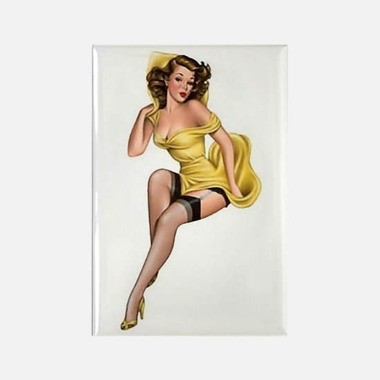 Yellow Lady Rectangle Magnet