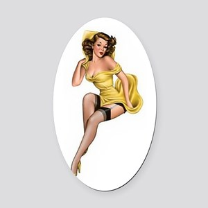 Yellow Lady Oval Car Magnet