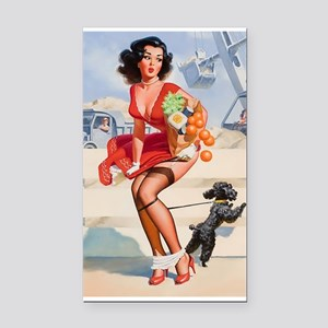 Pin up Grocery Girl Rectangle Car Magnet