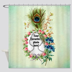 Personalizable Vintage Flower Frame Shower Curtain