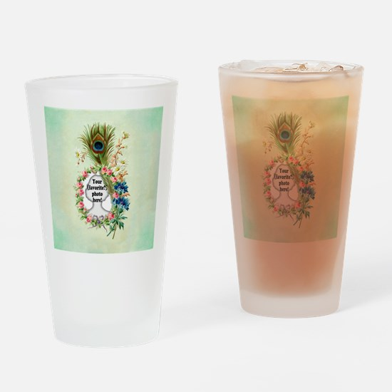 Personalizable Vintage Flower Frame Drinking Glass