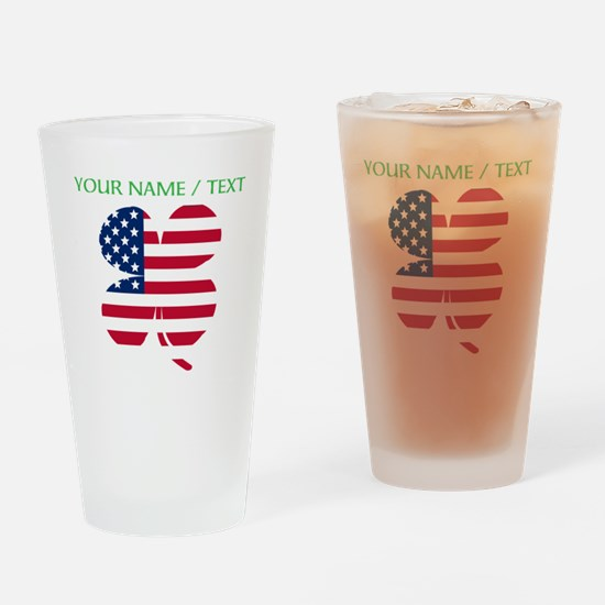 Custom American Flag Shamrock Drinking Glass