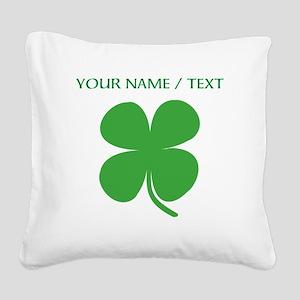Custom Green Four Leaf Clover Square Canvas Pillow