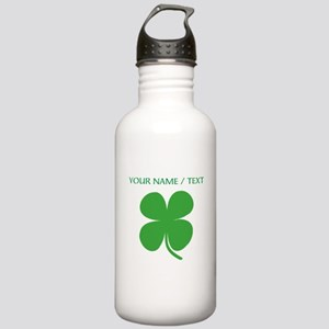 Custom Green Four Leaf Clover Water Bottle