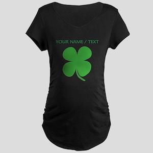 Custom Green Four Leaf Clover Maternity T-Shirt
