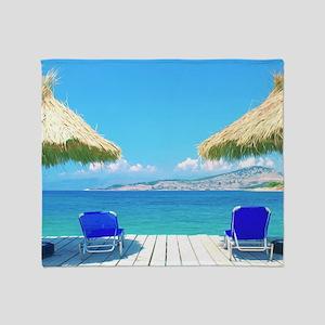Beautiful Tropical Beach With Deck C Throw Blanket