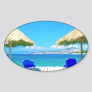 Beautiful Tropical Beach With Deck  Sticker (Oval)