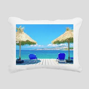 Beautiful Tropical Beach Rectangular Canvas Pillow