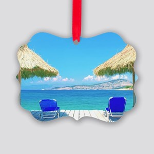 Beautiful Tropical Beach With Dec Picture Ornament