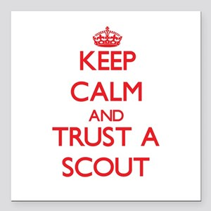 """Keep Calm and Trust a Scout Square Car Magnet 3"""" x"""