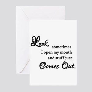 Stuff Just Comes Out Apology Greeting Cards