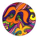 Dancing Fleur de Lis Poster Round Car Magnet