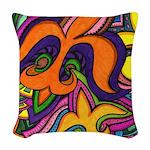 Dancing Fleur de Lis Poster Woven Throw Pillow
