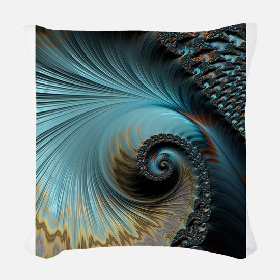 Aqua - Unique Fractal Woven Throw Pillow