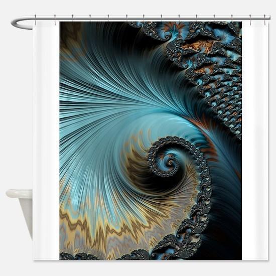 Aqua - Unique Fractal Shower Curtain