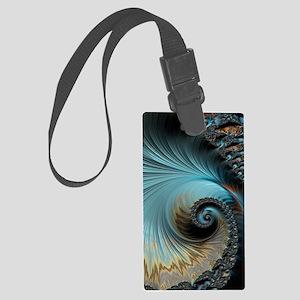 Aqua - Unique Fractal Large Luggage Tag