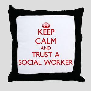 Keep Calm and Trust a Social Worker Throw Pillow