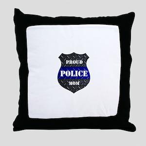 Proud Police Mom Throw Pillow