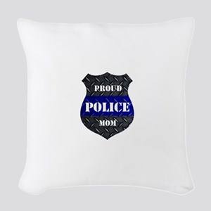 Proud Police Mom Woven Throw Pillow