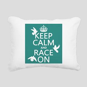 Keep Calm and Race On Rectangular Canvas Pillow