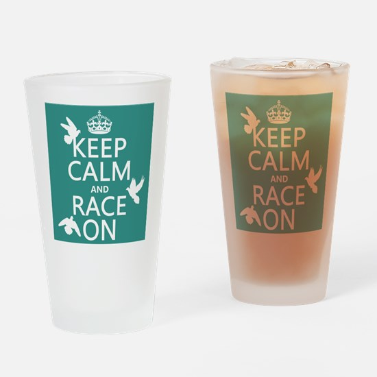Keep Calm and Race On Drinking Glass