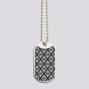 White on Black Damask 29a Dog Tags