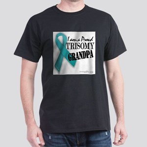 PROUD teal TRISOMY GRANDPA Dark T-Shirt