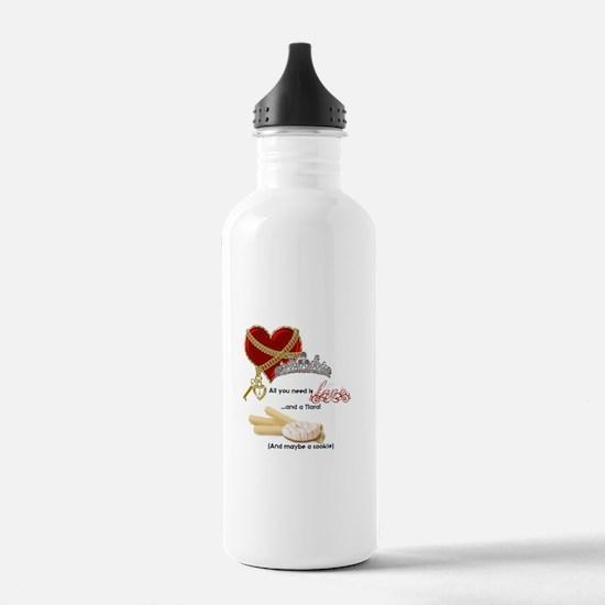 Love Tiaras and Cookies Water Bottle